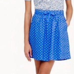 J. Crew drawstring polka dot skirt lined